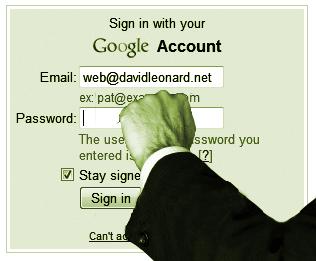 Knocking on Google login panel