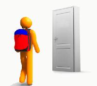 Stick character approaching door