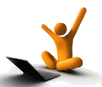 Stick character sitting by a laptop computer