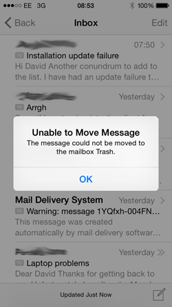 Unable to Move Message