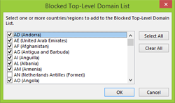 Outlook 2013 Blocked Top-Level Domain List