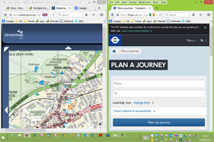 Two Firefox browser windows side by side