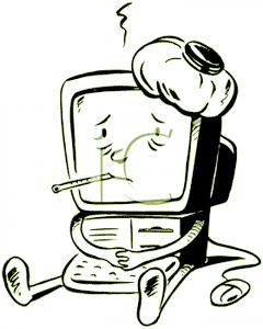 Overheated Computer Cartoon
