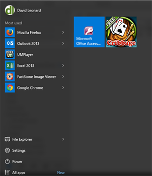 """Yes, the Start Menu is back, here shown with one of the Windows 8 tiles (""""cribbage"""") embedded in it."""