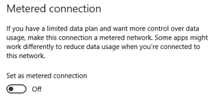 Windows 10 - Setting a Metered Connection
