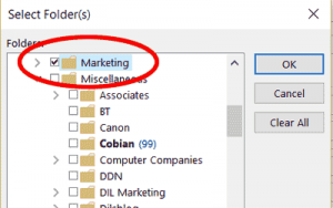 Outlook Folders in Advanced Find