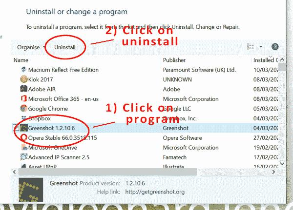 Uninstall a program - 2