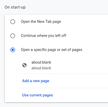 Chrome startup options