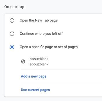 Chrome startup options