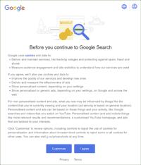 Google cookie popup